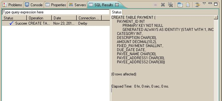 CreatePaymentTable SQL file results