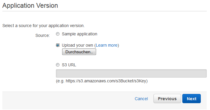Scout cloud aws create application upload application.png