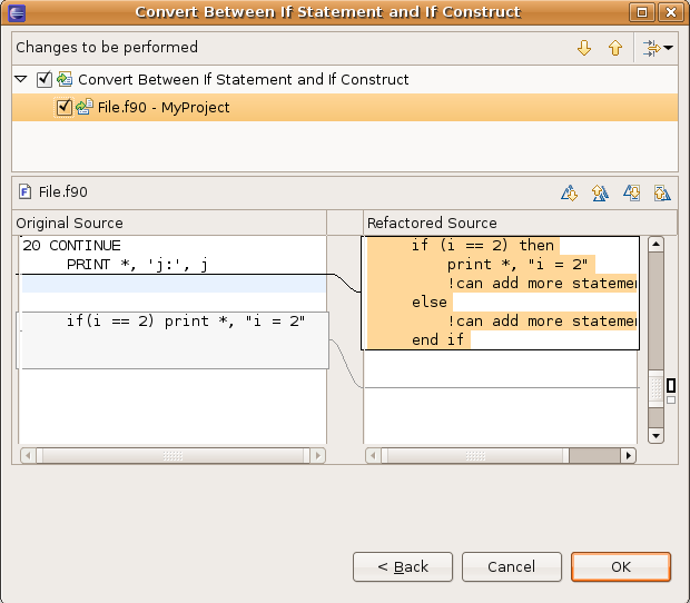 Example of the Convert Between If Statement and If Construct refactoring