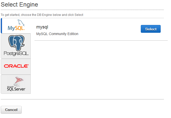 Scout cloud aws add mysql select engine.png