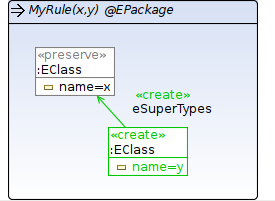 Transformation rule with parameters and container object