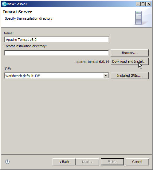 The New Server wizard requests an installation directory.