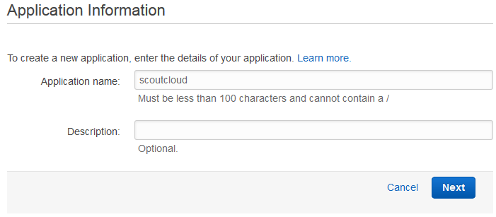 Scout cloud aws create application define name.png