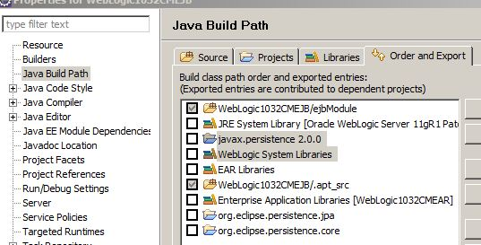Eclipse ejb project jpa2 library above weblogic system library.JPG