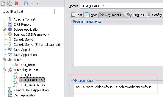 Arguments tab for headless test suite