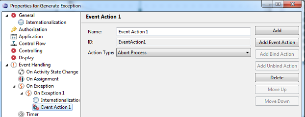 Event Action set to Abort Process on Activity Generate Exception