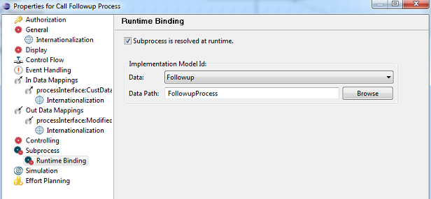 Figure 7: Runtime binding of Process Implementation