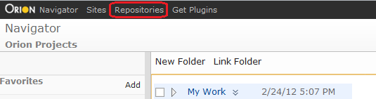 Repositories link in the nav bar of an Orion page