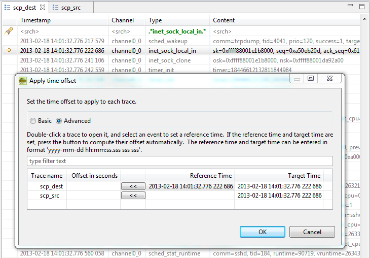 Apply Time Offset dialog - Set Reference Time