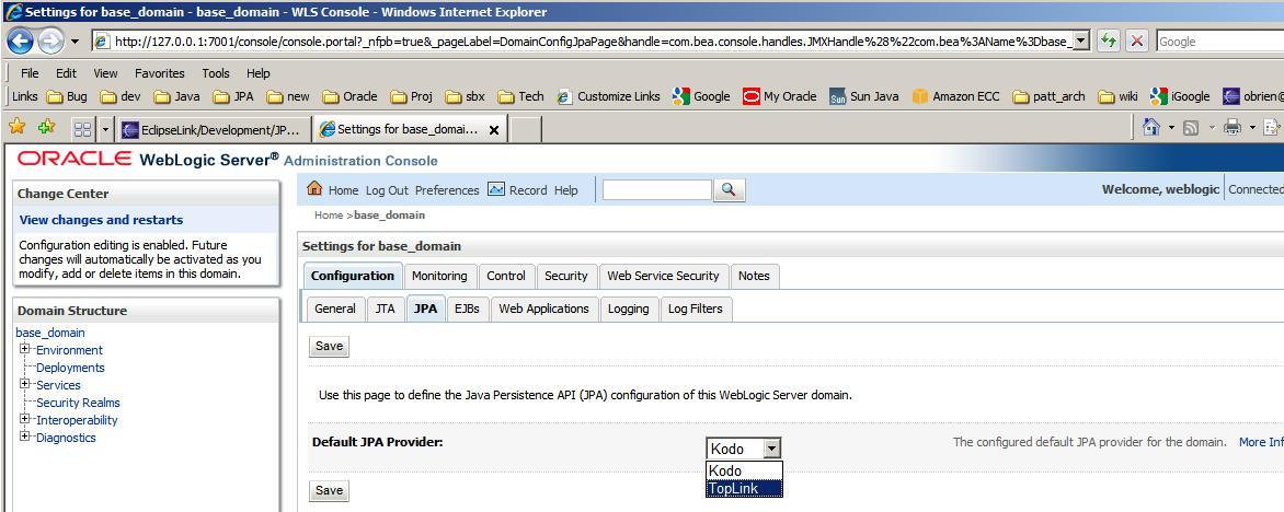 Weblogic10340 r20110115 change default jpa2 provider from kodo to toplink.JPG