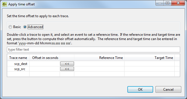 Apply Time Offset dialog - Advanced mode