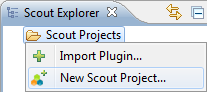 The context menu to create a new Scout Project
