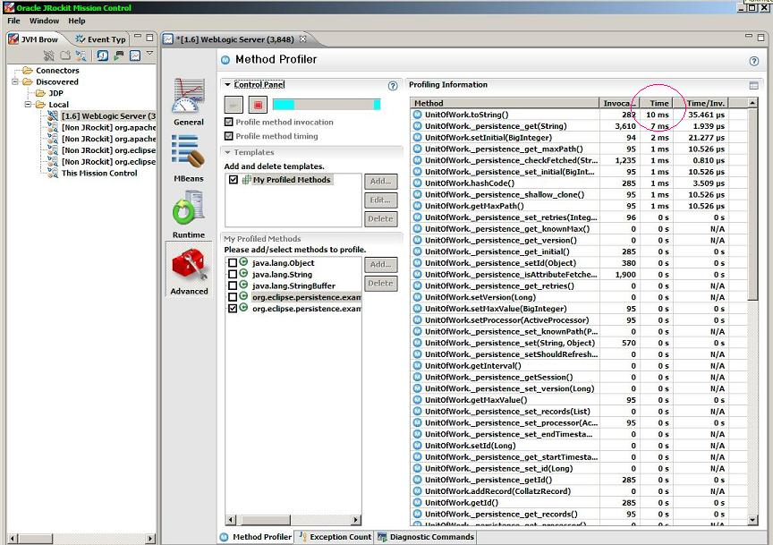 Jrockit mission control runtime adv method profiler shows weaved instrumented methods on entity sort by time.JPG