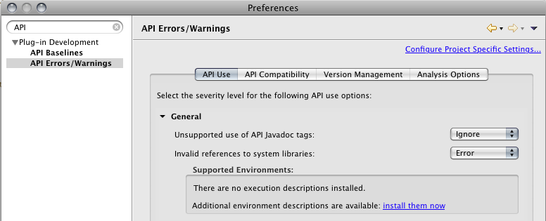 Enable the Supported Environments dialog