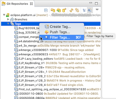 """Screenshot showing the tag filter command in the repositories view in EGit 5.8.0."""