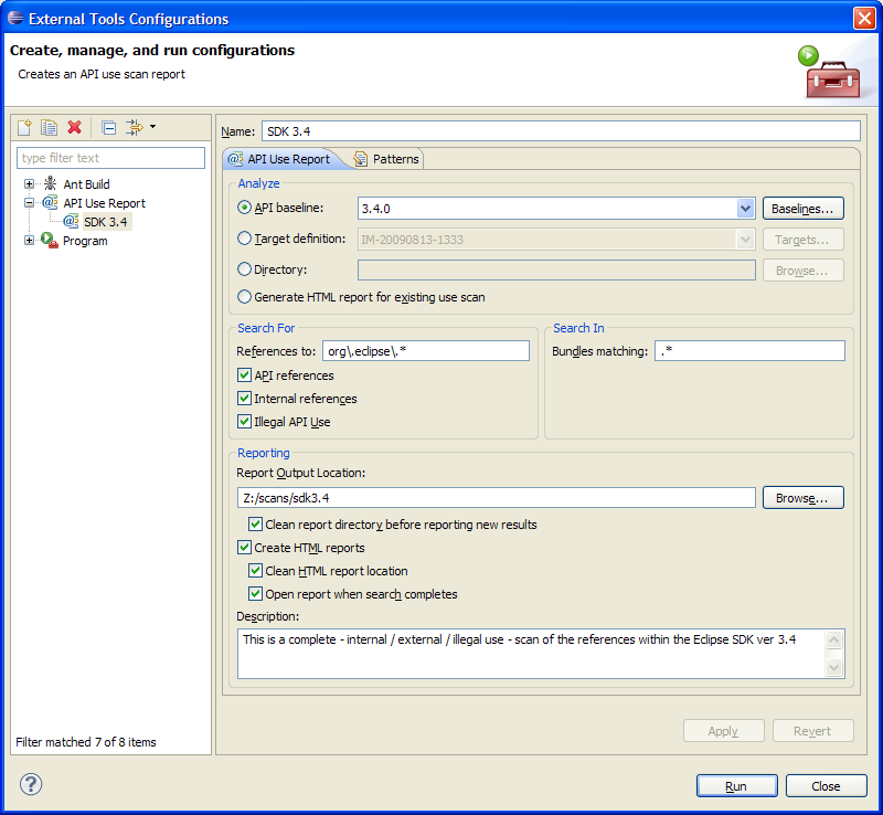 The external tools dialog showing a use scan configuration