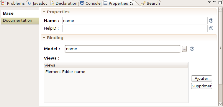 Sample of properties view integrating a component generated with EEF