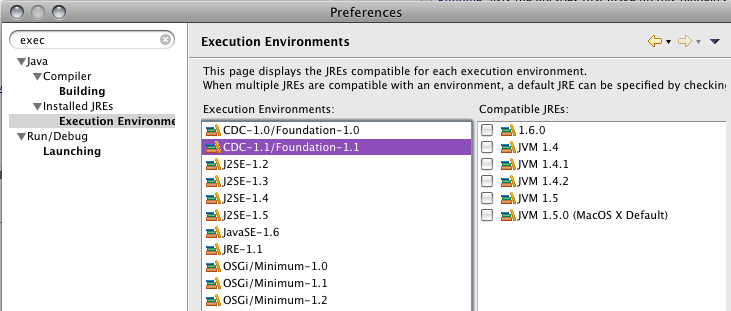 Java Execution Environments Preference Page