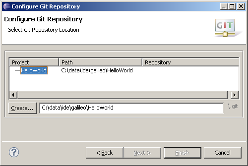 eclipse new git repository