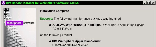 Ibm websphere fixpack 7001 result.JPG