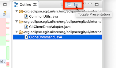 """Screenshot showing the toolbar of the outline view of the diff viewer in EGit 5.8.0."""