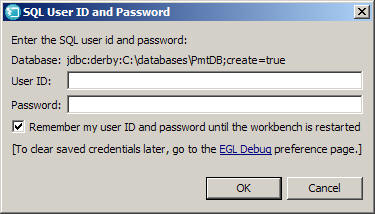 The ID and password window