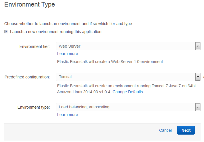 Scout cloud aws create application choose envoriment.png
