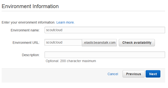 Scout cloud aws create application specify environment.png