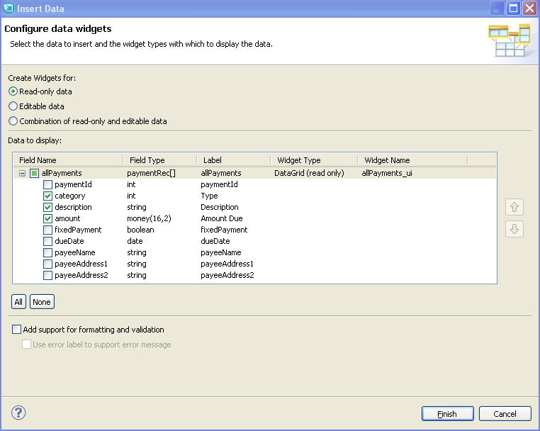 The completed Configure data widgets wizard