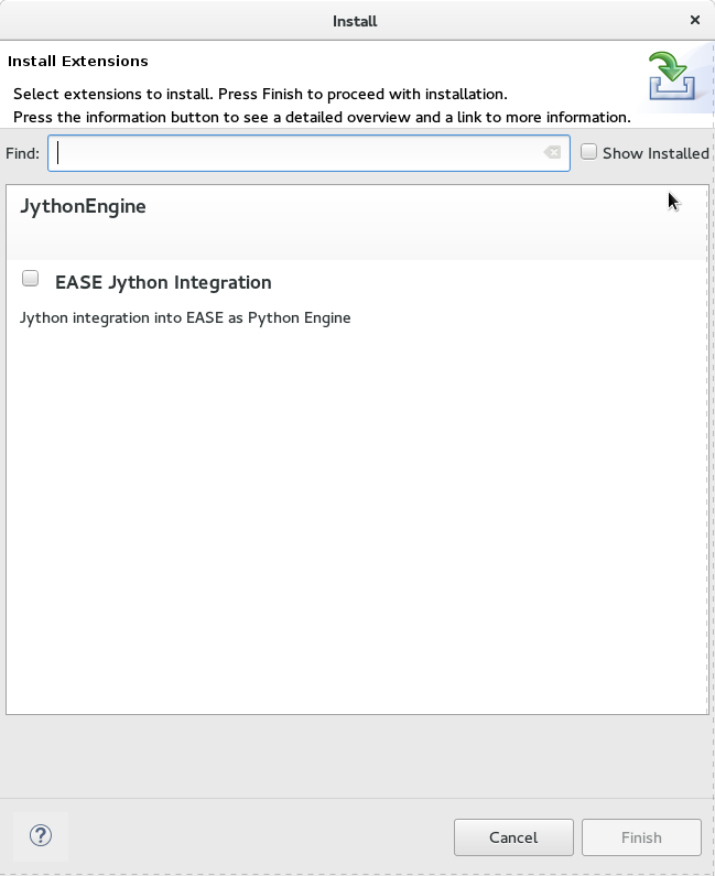 A picture showing the installer for the EASE Jython tools