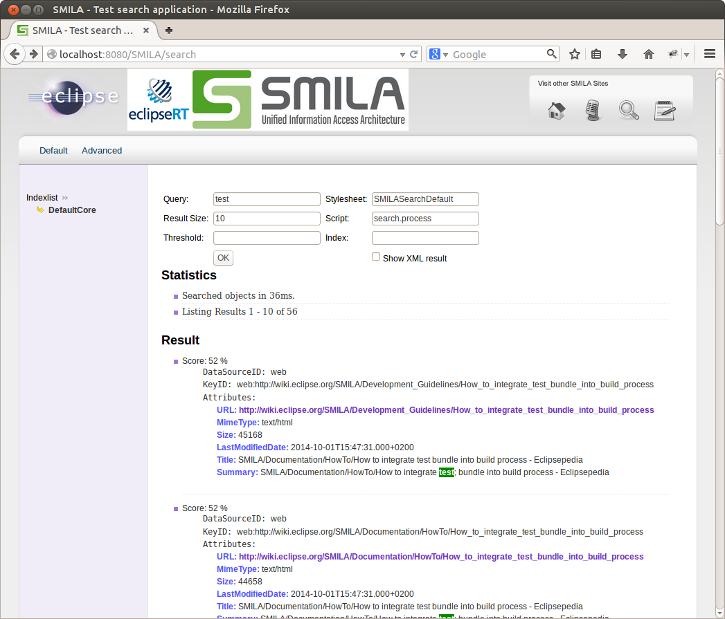 SMILA's sample search page