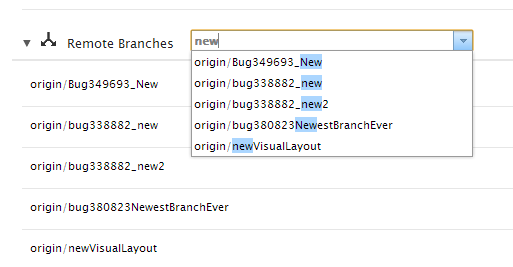 Branch list without new branch