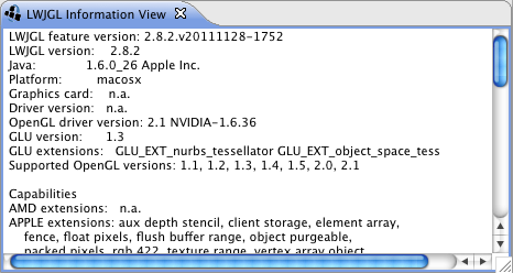 LWJGL Information View (part of the LWJGL tools)