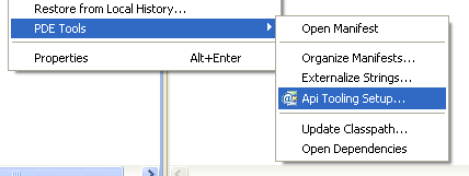 Context menu item to start the tooling setup wizard