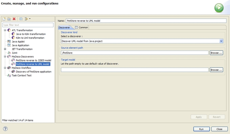 Launch configuration of SimpleTransformationsChain discoverer for PetStore application
