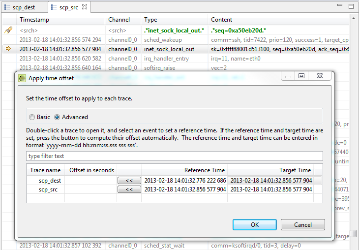 Apply Time Offset dialog - Set Target Time