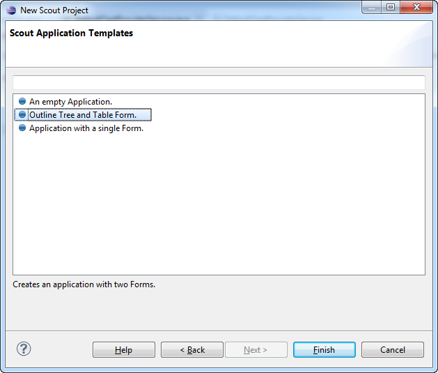 Step 2: Choose application template