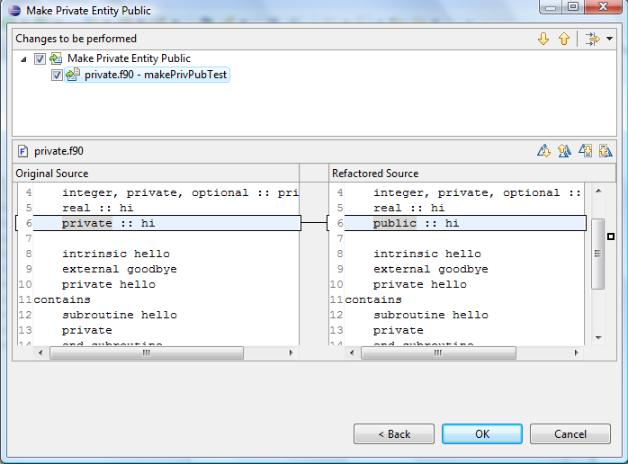 Example 2 of make private entity public refactoring.