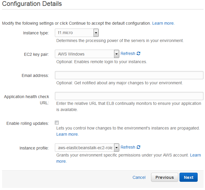 Scout cloud aws create application configuration details.png