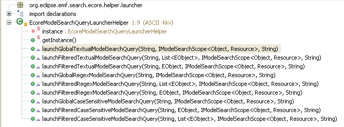 Ecore Textual Model Search Query Launcher Helper