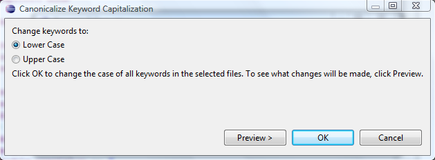 Canonicalize keyword capitalization dialog.