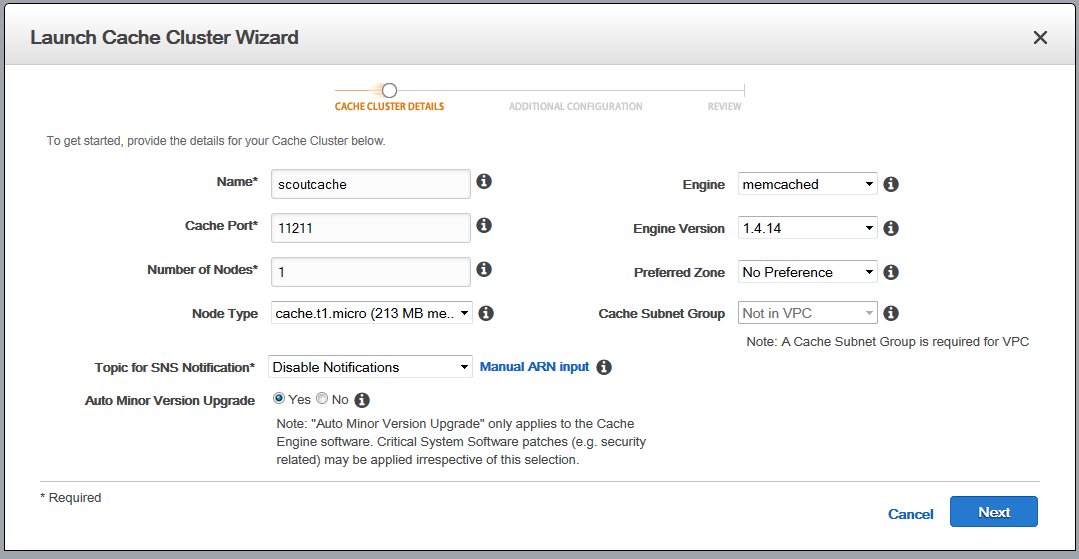 Scout cloud aws add memcached specify details.png