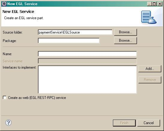 The New EGL Service Part window shows the service name and package.
