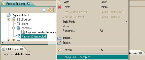 The Deploy EGL Descriptor option