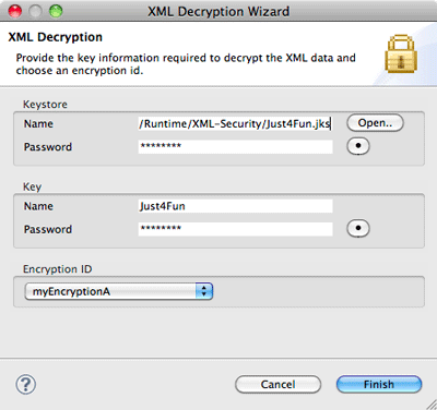 XML Decryption Wizard page 1