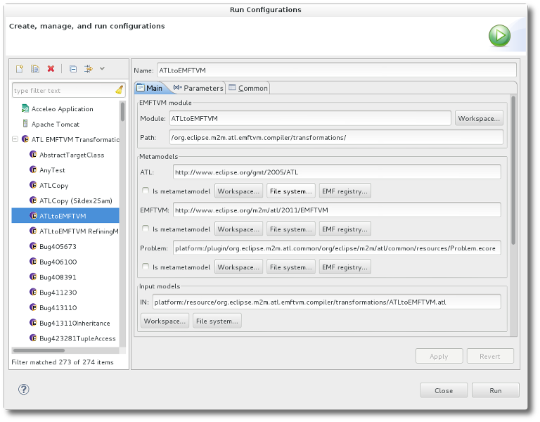EMFTVM Launch Configuration Dialog