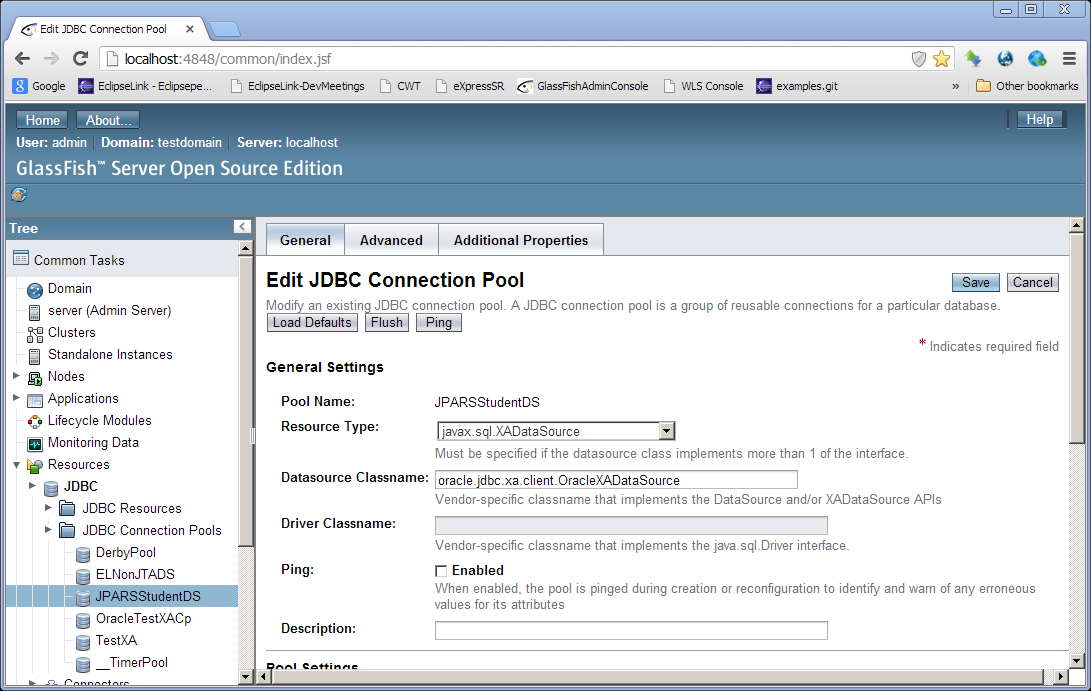Configuring JDBC Connection Pool