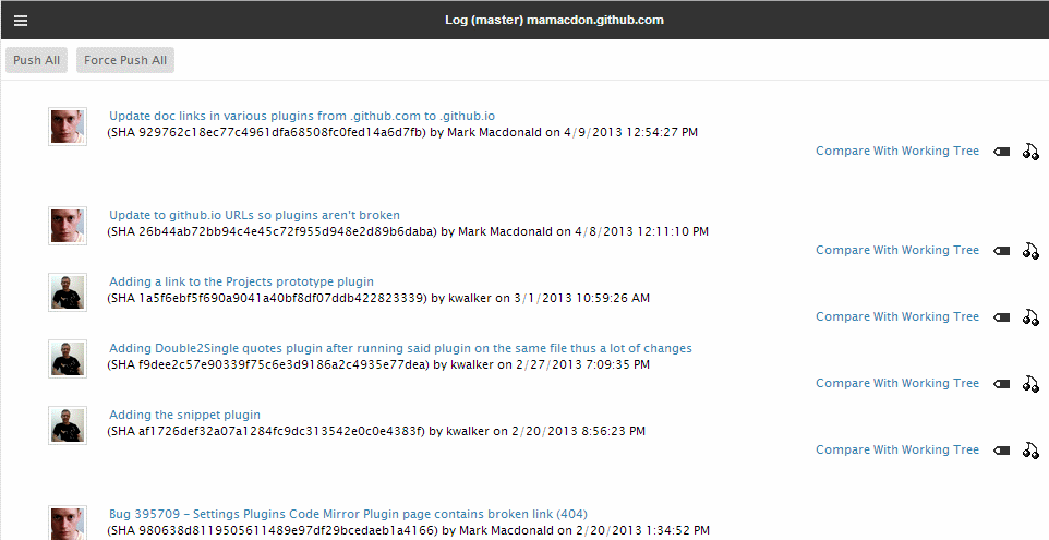 Git log screenshot