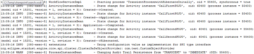 Server log indicating switch from Transient to Immediate persistence for Hibernated activity