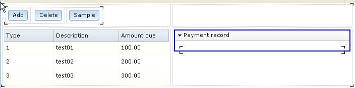 The web page with the payment record pane